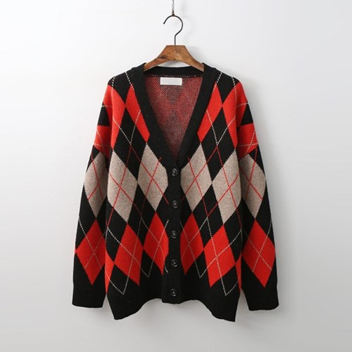 Wool Argyle Check Cardigan