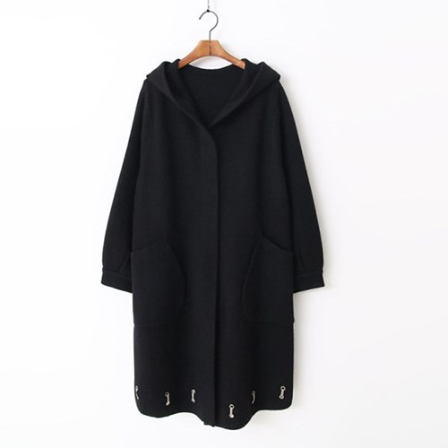Wool Hood Warm Knit Long Coat