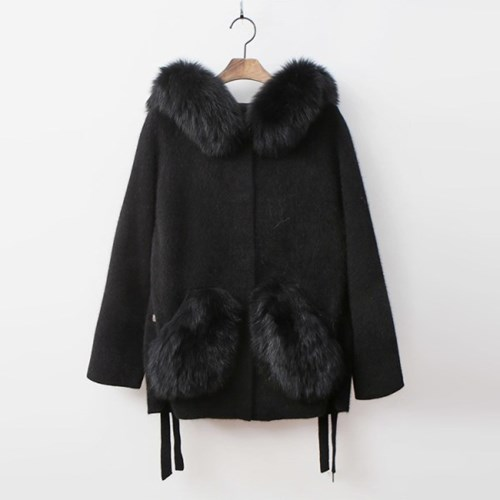 Fox Cashmere Wool Hood Warm Knit Coat