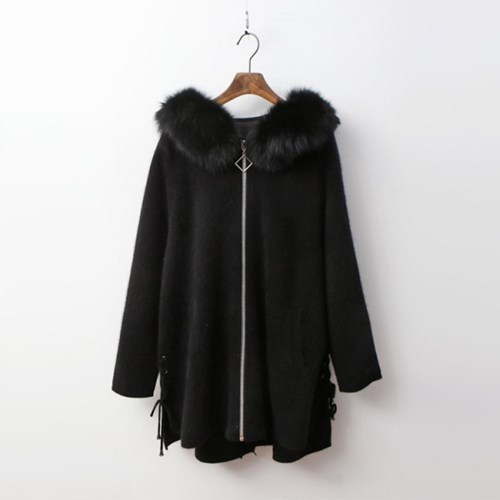 Fox Cashmere Wool Hood Unbal Warm Knit Coat