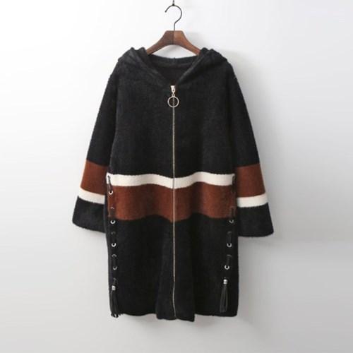 Wool Bosome Hood Zip-Up Knit Coat