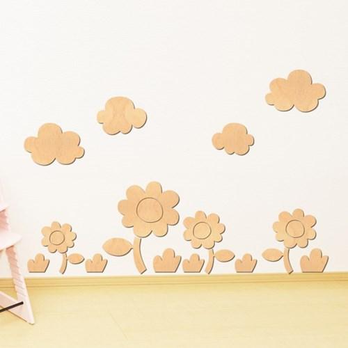 [우드스티커] 꽃과들 (반제품) W555H