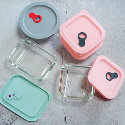 실리콘 내열유리 냉동밥 전자렌지 보관용기