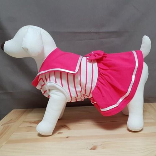 강아지옷마린룩원피스  댕댕이 꽃놀이 산책의상 애견세라원피스