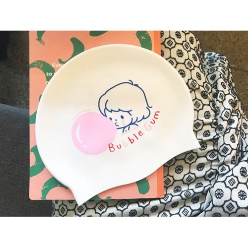 Bubble Gum Swimcap White