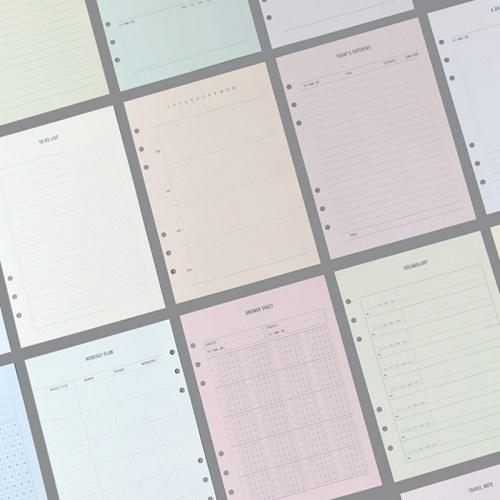 [B급 제품] 메이크-어-메모 6공 내지 A5 (19종)