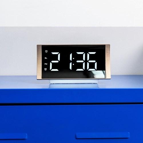 오리엔트 OT1624 커브드 라디오알람 화이트LED 디지털탁상시계(스마