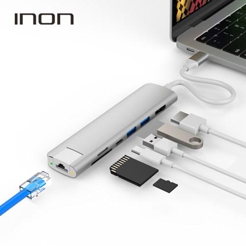 아이논 USB 3.0 C타입 7in1 멀티허브 HDMI RJ45 카드리더 맥북프로
