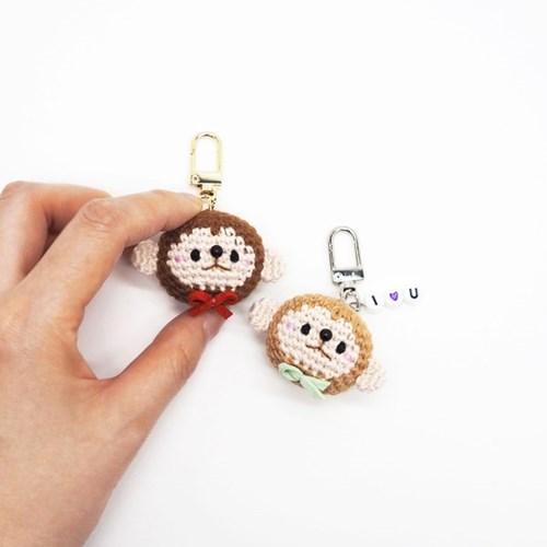 원숭이 손뜨개 키링 휴대폰줄 브로치 인형