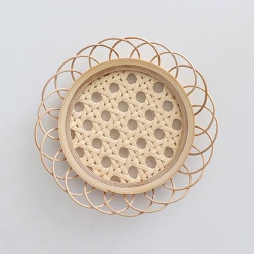 플라워 라탄 코스터 나무 컵받침