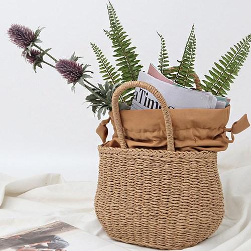 여름 밀짚 왕골 가방 미니 바스켓 라탄백 토트백