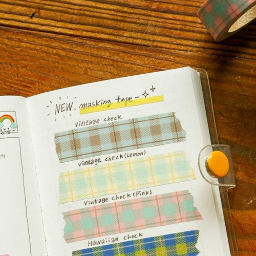 Masking tape single - 162 Vintage check (Lemon)