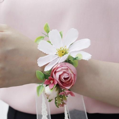 핑크 코스모스 mix 조화 꽃팔찌