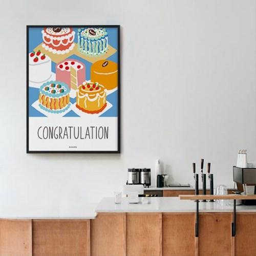 콩그레츄레이션2 케이크 M 유니크 인테리어 디자인 포스터 카페