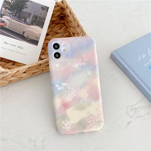 핑크바이올렛 페인트오버 실리콘 풀커버 카메라보호 아이폰케이스