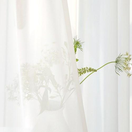 호텔룸 화이트 쉬폰커튼-나비주름(단품/세트)