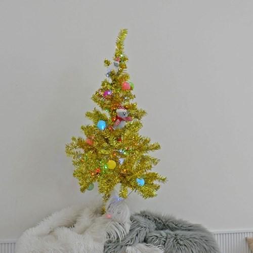 [비솜] 크리스마스 골드트리120cm세트(전구 칼라,웜)