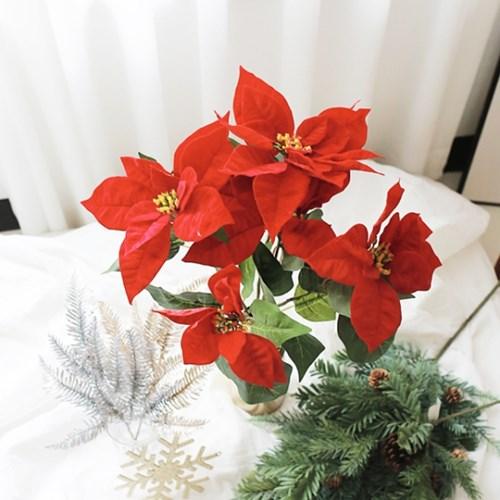 벨벳 포인세티아 겨울 빨간 조화 꽃 / 인테리어 실크플라워
