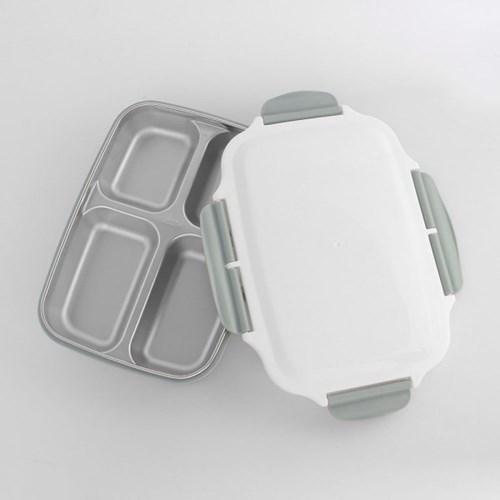 쿠킹박스 4구 스텐 식판도시락(26.5x19.5cm) (그레이)