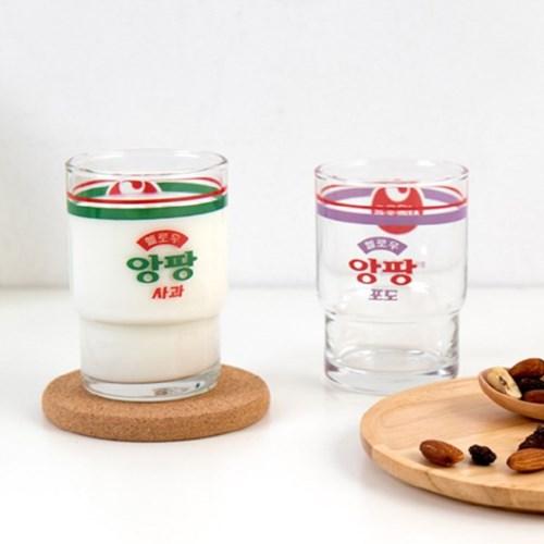 서울우유 앙팡 빈티지 유리컵 레트로 감성 굿즈 홈카페 커피잔 245ml