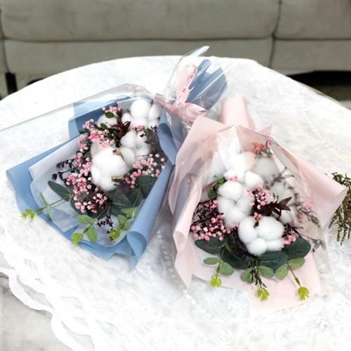 졸업식 입학 기념일 코튼플라워 안개꽃다발 중 블루_(2239239)
