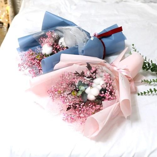 졸업식 입학 기념일 코튼플라워 안개꽃다발 대 핑크_(2239238)