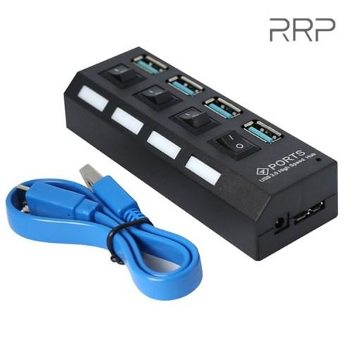4포트 USB3.0 USB허브 고속전송 on/off개별스위치 내장 선길이 30cm