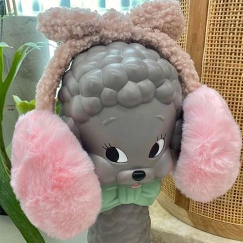 뽀글이 리본 베이지 브라운 데일리 학생 패션 귀마개