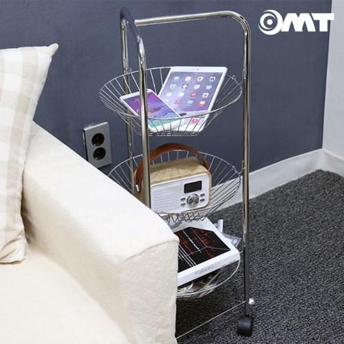 OMT 틈새 공간활용 이동식 3단 스테인레스 메탈 바구니 트롤리 선반