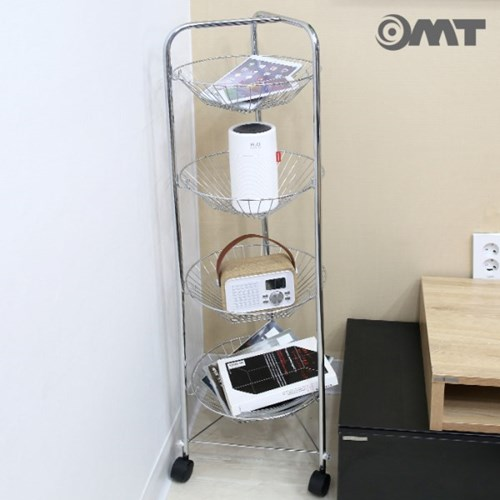 OMT 틈새 공간활용 이동식 4단 스테인레스 메탈 바구니 트롤리 선반