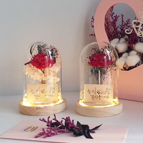 벨벳 장미 LED 유리돔 무드등 선물 인테리어소품