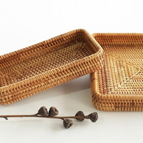 라탄 사각 주방 소품정리 쟁반 트레이 (직사각형 대)