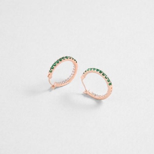 [쥬디앤폴] 아쥬흐 에메랄드 그린 크리스탈 후프 귀걸이 E51689