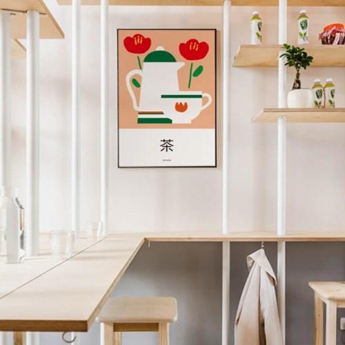 동백꽃과 차 M 유니크 인테리어 디자인 포스터 전통차 카페