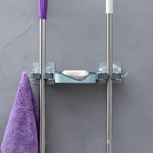 멀티플 부착식 청소도구걸이 / 비누받침 밀대홀더
