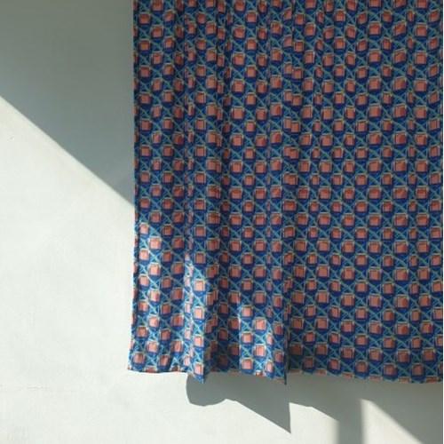 [만옥]블루 가리개 커텐 m 유니크 빈티지 식탁보 레트로 커튼