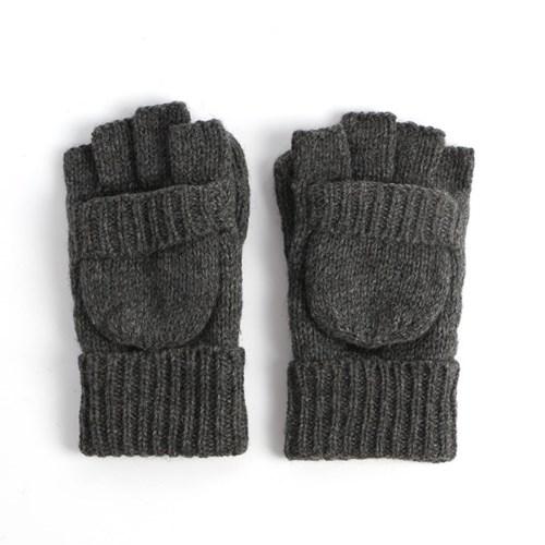 루이즈 오픈형 엄지장갑(차콜) 겨울 기모 니트장갑