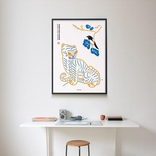 호작도2 M 유니크 인테리어 디자인 포스터 민화 호랑이