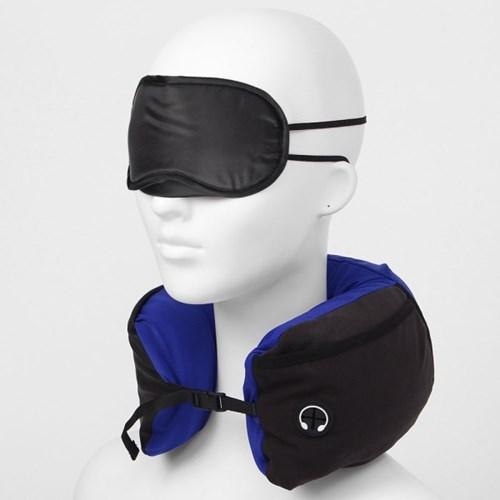 4in1 여행용 메모리폼 목쿠션 안대 귀마개 세트 블루