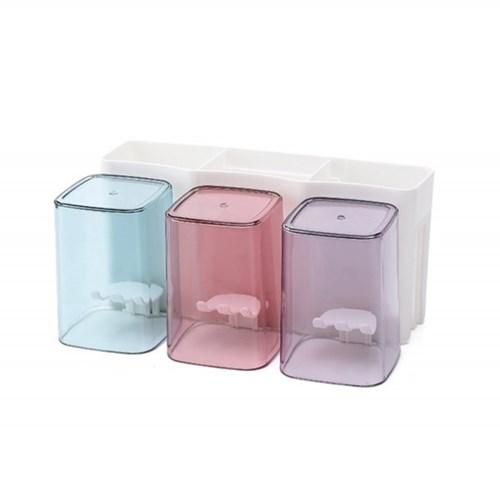 올인원 양치컵 칫솔꽂이 3인세트 / 부착식 칫솔홀더