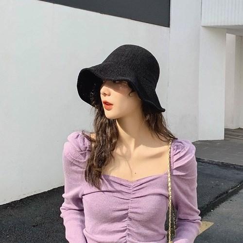 [무배] 여성 니트 벙거지모자 와이어 버킷햇 C507