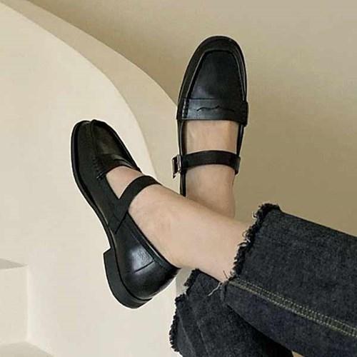 kami et muse Belt strap stitch loafers_KM21s019