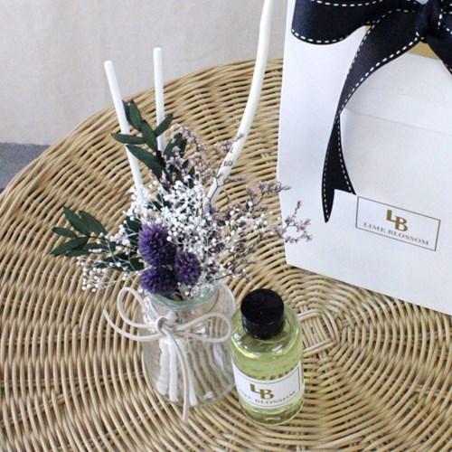 퍼플 꽃다발 천연 디퓨저 + 선물 세트 실내 인테리어