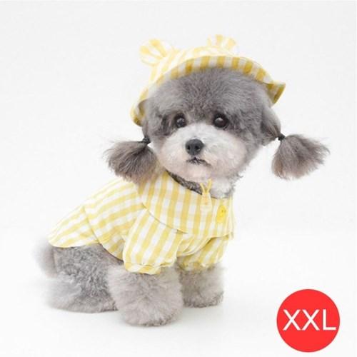 체크노랑오리 강아지 셔츠 모자포함 옐로우 XXL