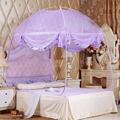유니룸 돔형 사각 모기장(퍼플) / 3인용 침대모기장