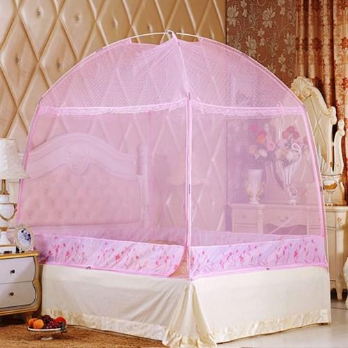 유니룸 돔형 사각 모기장(핑크) / 4인용 침대모기장