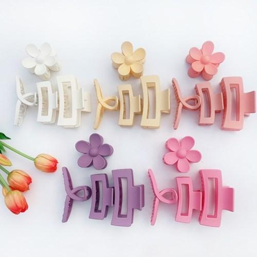[BEST]블루밍 꽃 사각 꼬임 파스텔 집게핀 4종 세트+선물박스 패키지