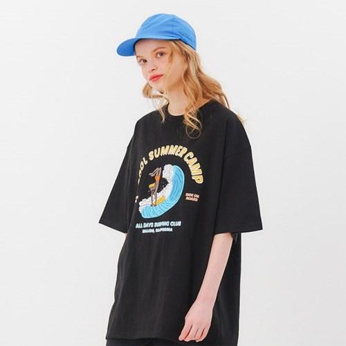 서핑클럽 오버핏 반팔티셔츠 - 블랙