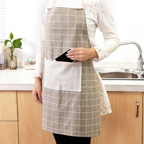 체크패턴 패션 앞치마 린넨 앞치마 예쁜 앞치마 카페 앞치마(4Style)