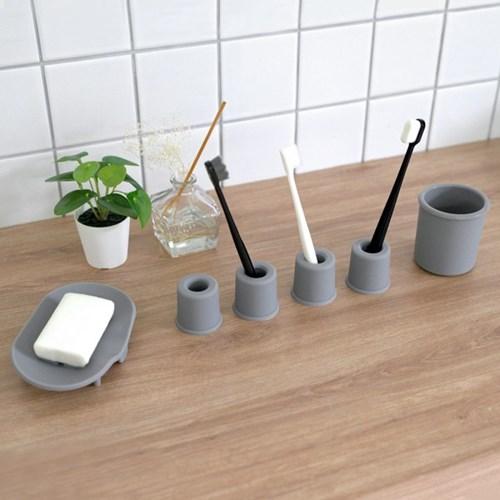 실리콘 칫솔비누홀더양치컵 욕실용품 2인세트